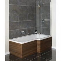 'L' and 'P' shape bath, leg set, front and end panel and hinged shower screen.